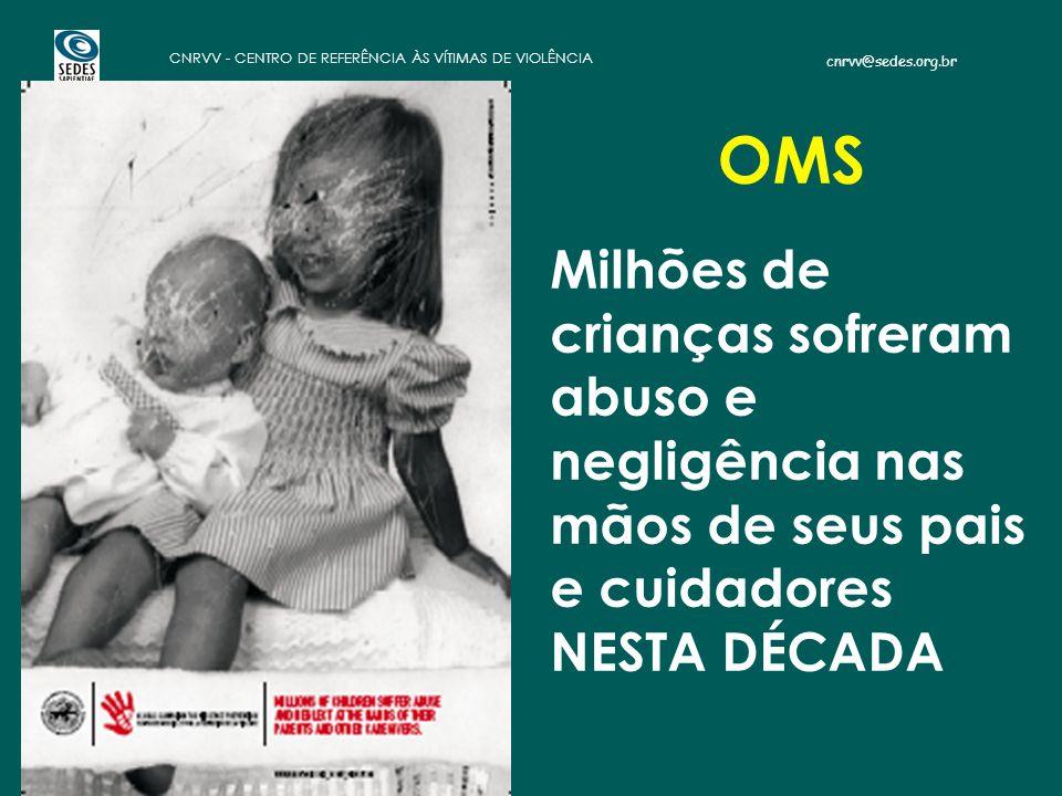 cnrvv@sedes.org.br CNRVV - CENTRO DE REFERÊNCIA ÀS VÍTIMAS DE VIOLÊNCIA OMS Milhões de crianças sofreram abuso e negligência nas mãos de seus pais e cuidadores NESTA DÉCADA