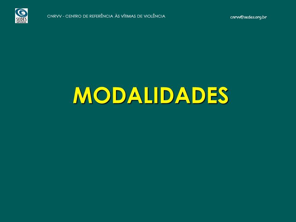 cnrvv@sedes.org.br CNRVV - CENTRO DE REFERÊNCIA ÀS VÍTIMAS DE VIOLÊNCIA MODALIDADES