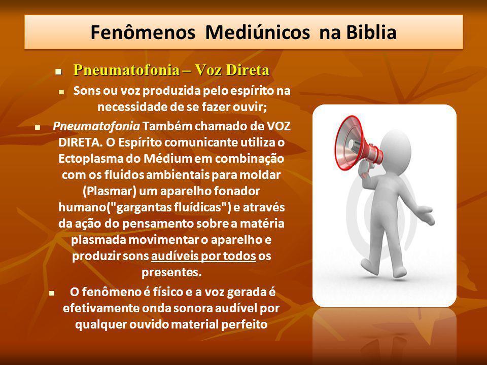 Pneumatofonia – Voz Direta Pneumatofonia – Voz Direta Sons ou voz produzida pelo espírito na necessidade de se fazer ouvir; Pneumatofonia Também chamado de VOZ DIRETA.