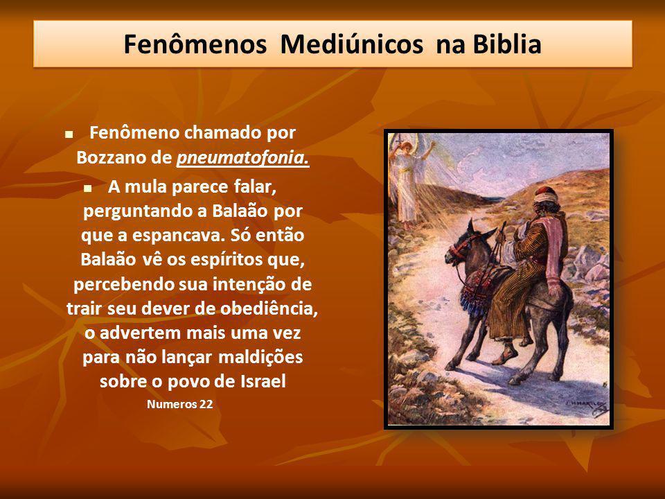 Fenômeno chamado por Bozzano de pneumatofonia. A mula parece falar, perguntando a Balaão por que a espancava. Só então Balaão vê os espíritos que, per