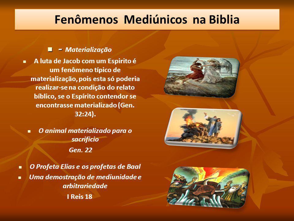 - - Materialização A luta de Jacob com um Espirito é um fenômeno típico de materialização, pois esta só poderia realizar-se na condição do relato bíbl