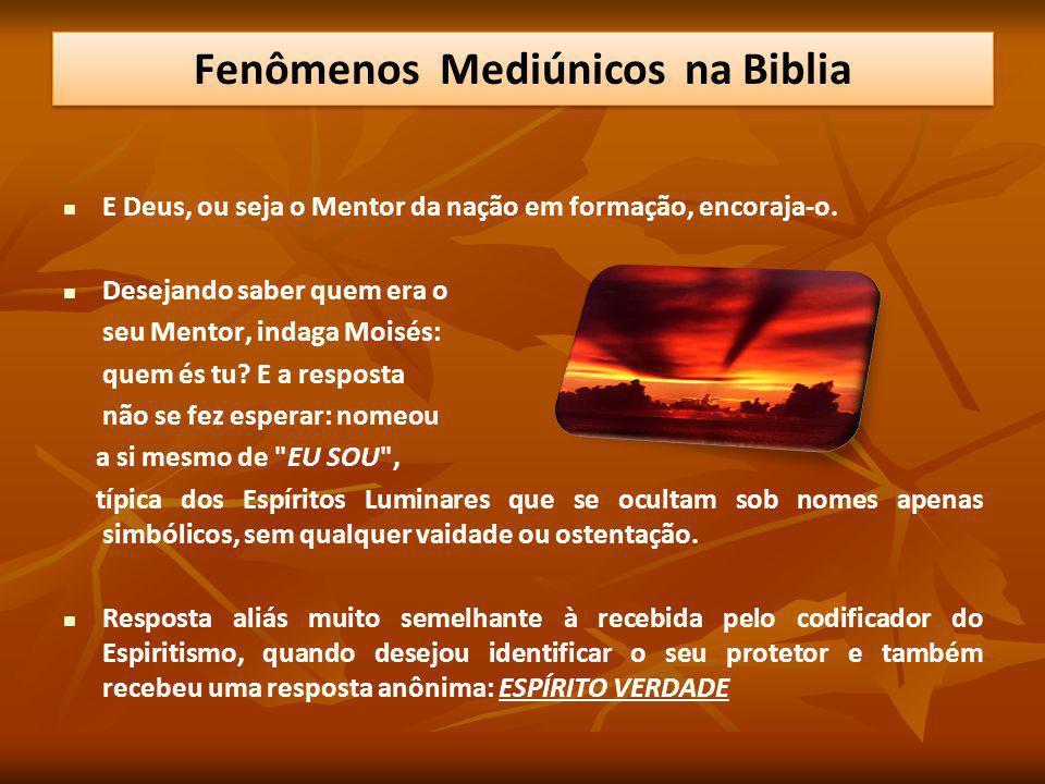 E Deus, ou seja o Mentor da nação em formação, encoraja-o. Desejando saber quem era o seu Mentor, indaga Moisés: quem és tu? E a resposta não se fez e