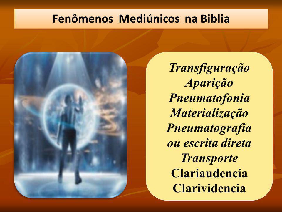 Transfiguração Aparição Pneumatofonia Materialização Pneumatografia ou escrita direta Transporte Clariaudencia Clarividencia Fenômenos Mediúnicos na Biblia