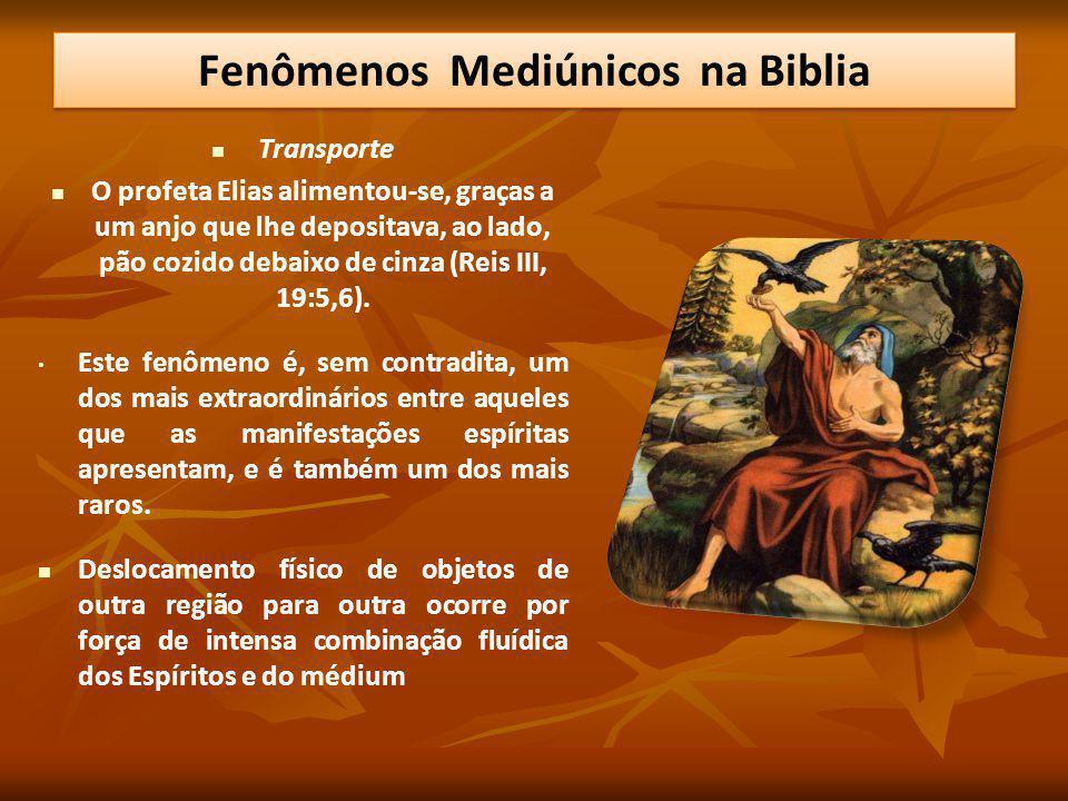 Transporte O profeta Elias alimentou-se, graças a um anjo que lhe depositava, ao lado, pão cozido debaixo de cinza (Reis III, 19:5,6). Este fenômeno é