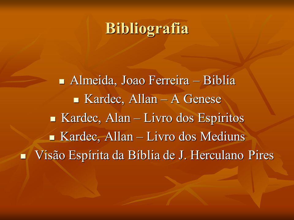 Bibliografia Almeida, Joao Ferreira – Biblia Almeida, Joao Ferreira – Biblia Kardec, Allan – A Genese Kardec, Allan – A Genese Kardec, Alan – Livro do