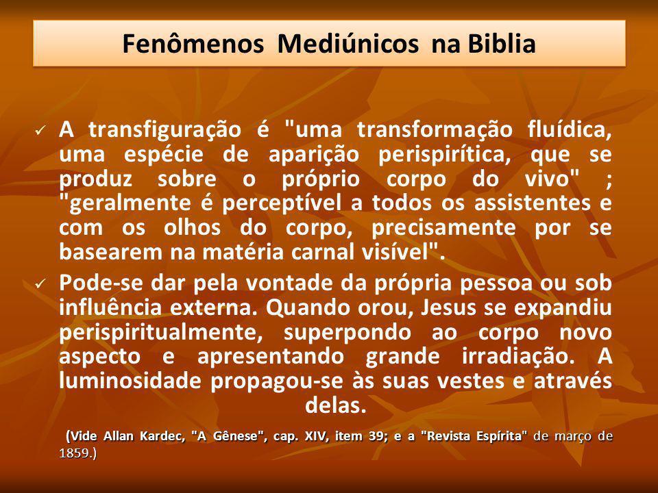 A transfiguração é uma transformação fluídica, uma espécie de aparição perispirítica, que se produz sobre o próprio corpo do vivo ; geralmente é perceptível a todos os assistentes e com os olhos do corpo, precisamente por se basearem na matéria carnal visível .