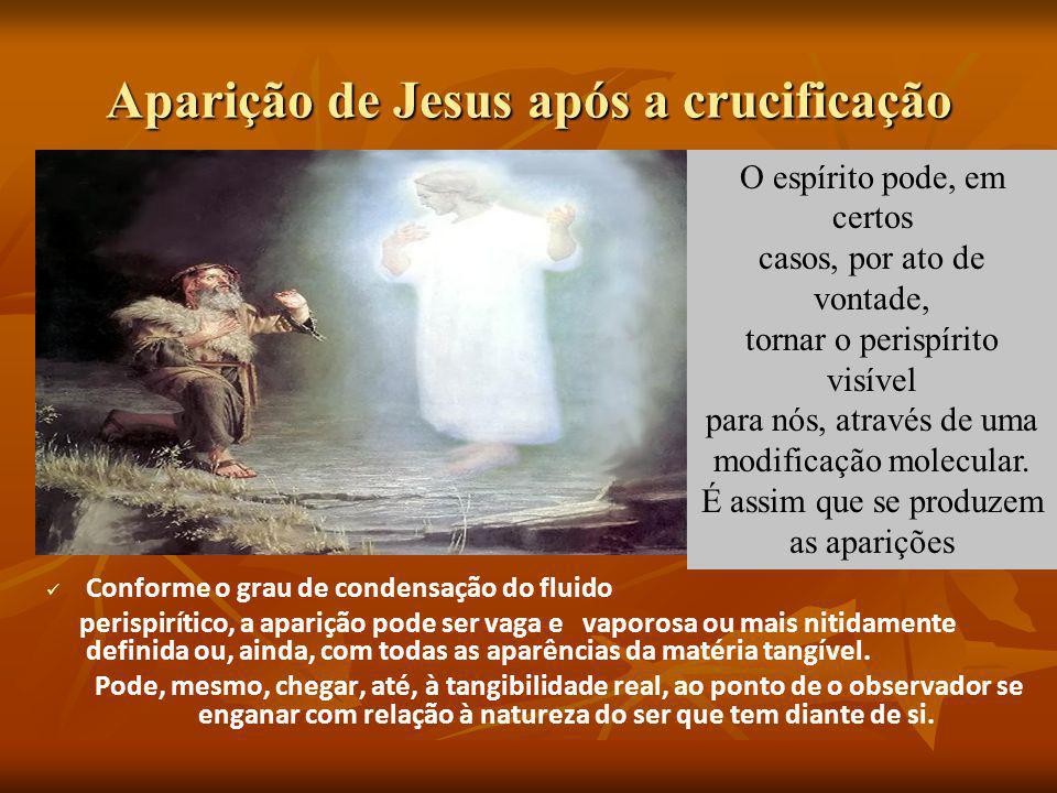 Aparição de Jesus após a crucificação. Conforme o grau de condensação do fluido perispirítico, a aparição pode ser vaga e vaporosa ou mais nitidamente