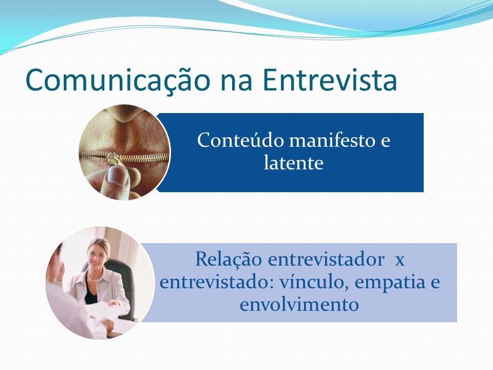 Comunicação na Entrevista Conteúdo manifesto e latente Relação entrevistador x entrevistado: vínculo, empatia e envolvimento