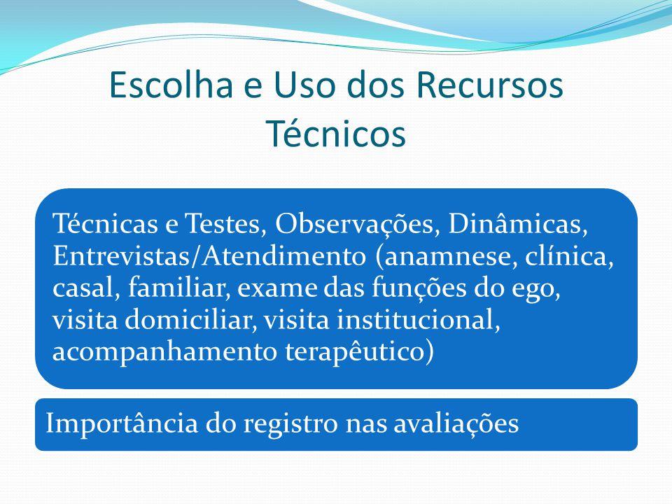 Escolha e Uso dos Recursos Técnicos Técnicas e Testes, Observações, Dinâmicas, Entrevistas/Atendimento (anamnese, clínica, casal, familiar, exame das