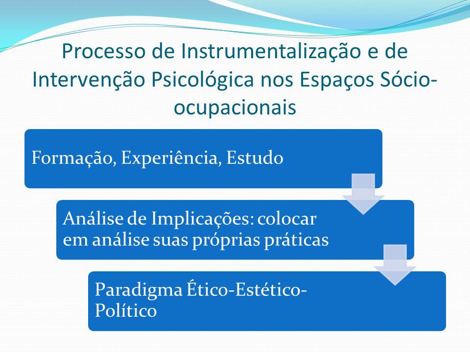 Processo de Instrumentalização e de Intervenção Psicológica nos Espaços Sócio- ocupacionais Formação, Experiência, Estudo Análise de Implicações: colo