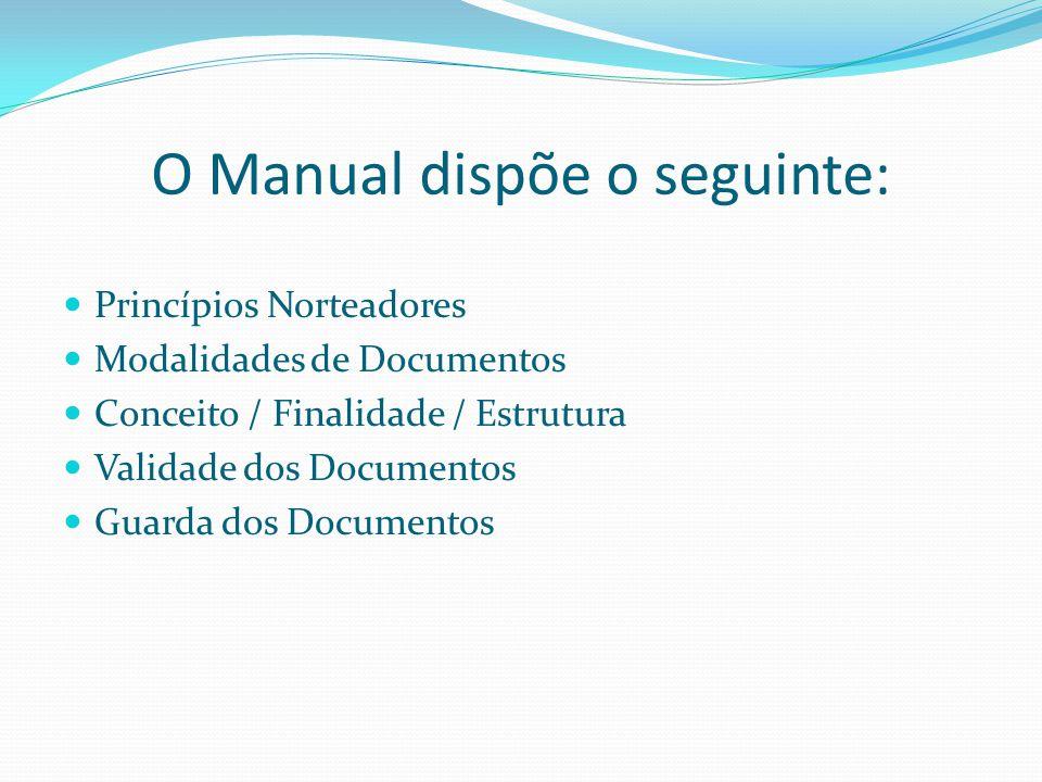 O Manual dispõe o seguinte: Princípios Norteadores Modalidades de Documentos Conceito / Finalidade / Estrutura Validade dos Documentos Guarda dos Docu