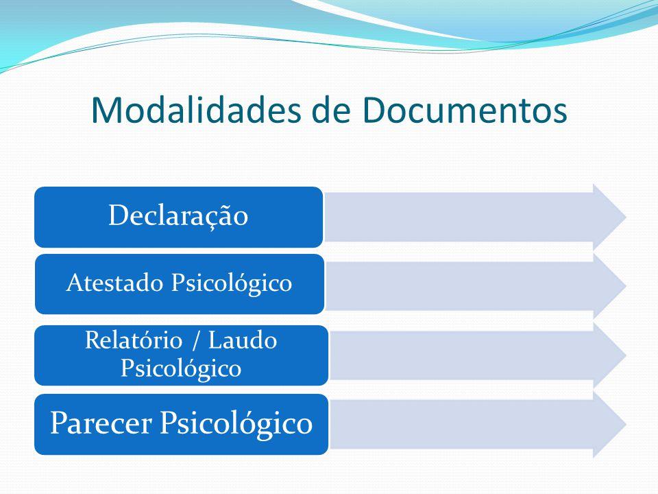 Modalidades de Documentos Declaração Atestado Psicológico Relatório / Laudo Psicológico Parecer Psicológico