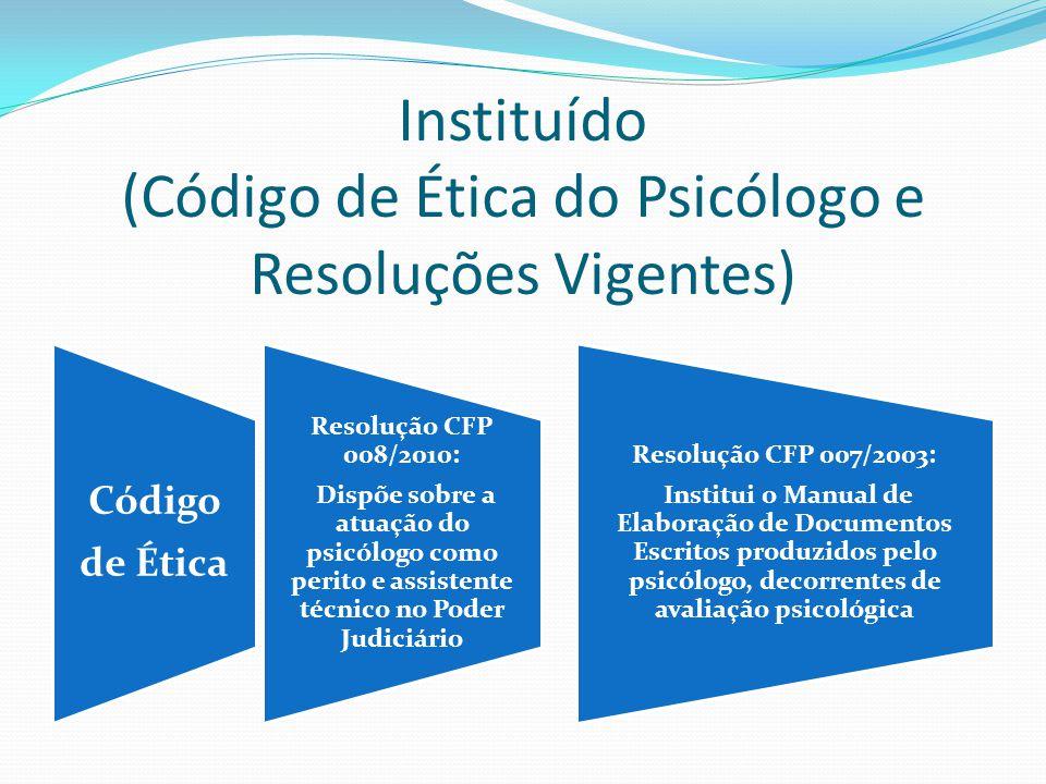 Instituído (Código de Ética do Psicólogo e Resoluções Vigentes) Código de Ética Resolução CFP 008/2010: Dispõe sobre a atuação do psicólogo como perit