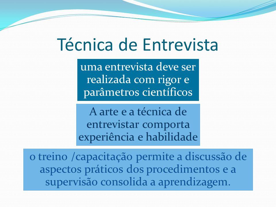 Técnica de Entrevista uma entrevista deve ser realizada com rigor e parâmetros científicos A arte e a técnica de entrevistar comporta experiência e ha