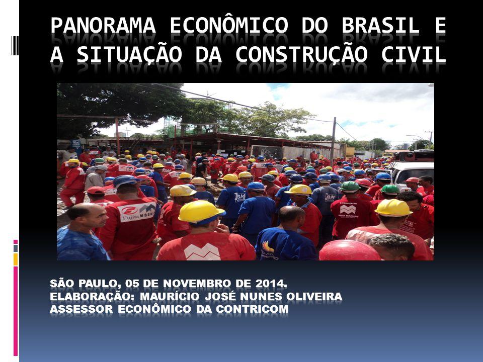 Atividade econômica da Construção civil recua em 2014  Projeções do Banco Central, indicam que PIB da Construção Civil são de um declínio de -2,3% em 2014 e de -1,5% em 2015.