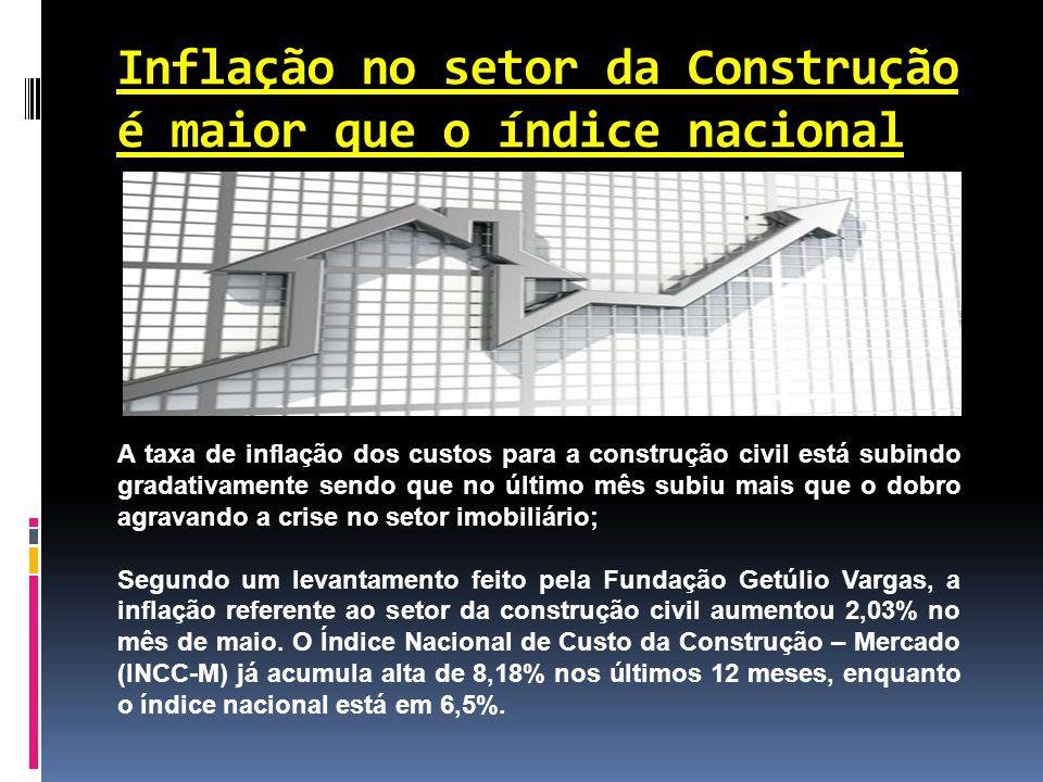 Inflação no setor da Construção é maior que o índice nacional A taxa de inflação dos custos para a construção civil está subindo gradativamente sendo