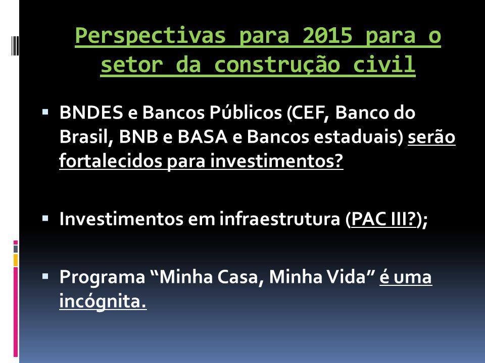 Perspectivas para 2015 para o setor da construção civil  BNDES e Bancos Públicos (CEF, Banco do Brasil, BNB e BASA e Bancos estaduais) serão fortalec