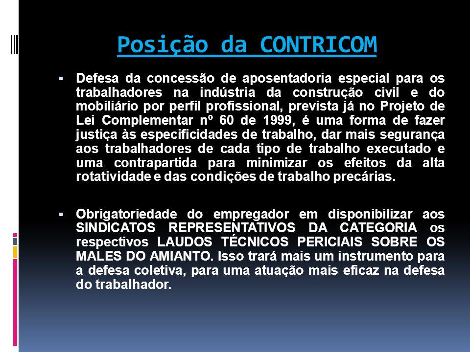Posição da CONTRICOM  Defesa da concessão de aposentadoria especial para os trabalhadores na indústria da construção civil e do mobiliário por perfil