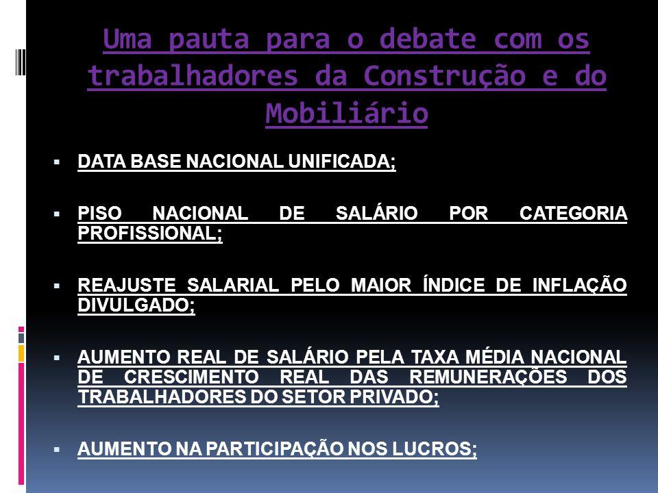 Uma pauta para o debate com os trabalhadores da Construção e do Mobiliário  DATA BASE NACIONAL UNIFICADA;  PISO NACIONAL DE SALÁRIO POR CATEGORIA PR