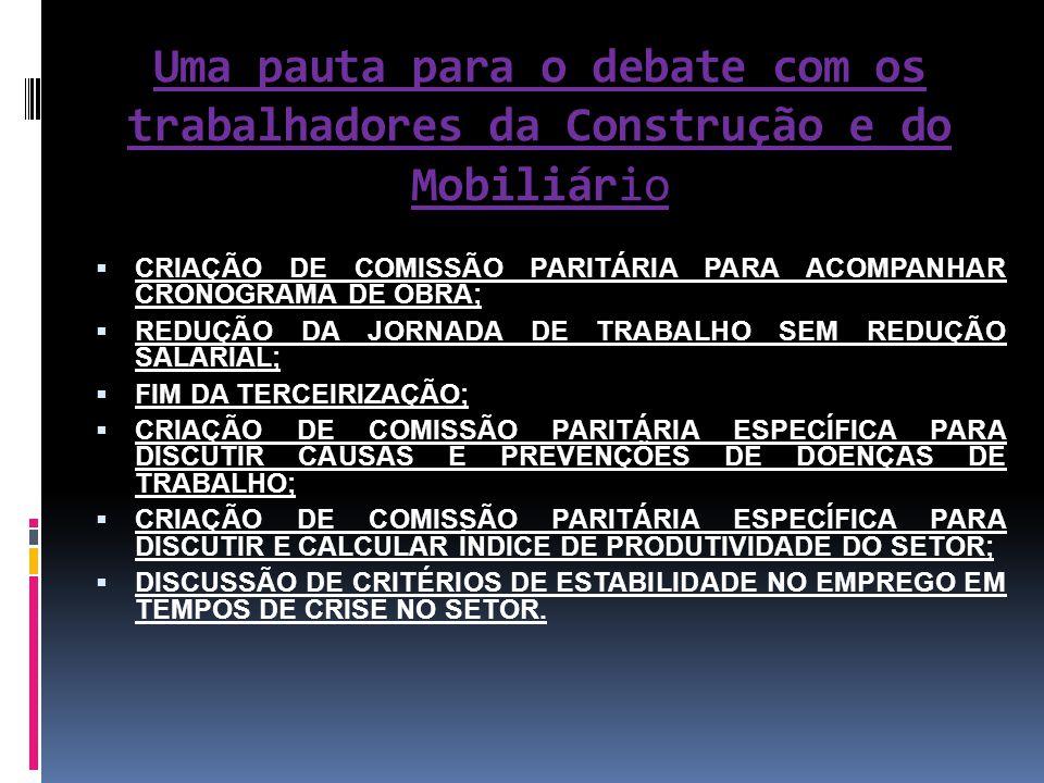 Uma pauta para o debate com os trabalhadores da Construção e do Mobiliário  CRIAÇÃO DE COMISSÃO PARITÁRIA PARA ACOMPANHAR CRONOGRAMA DE OBRA;  REDUÇ