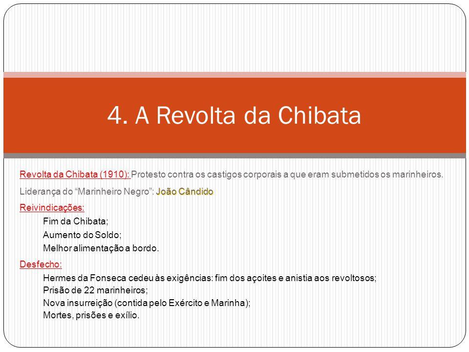 """Revolta da Chibata (1910): Protesto contra os castigos corporais a que eram submetidos os marinheiros. João Cândido Liderança do """"Marinheiro Negro"""": J"""