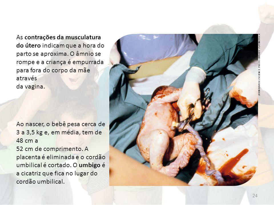 As contrações da musculatura do útero indicam que a hora do parto se aproxima.