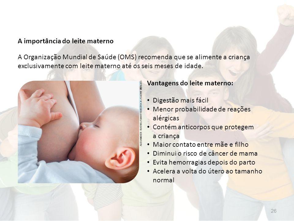 A importância do leite materno Vantagens do leite materno: A Organização Mundial de Saúde (OMS) recomenda que se alimente a criança exclusivamente com leite materno até os seis meses de idade.