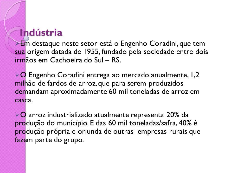 Indústria  Em destaque neste setor está o Engenho Coradini, que tem sua origem datada de 1955, fundado pela sociedade entre dois irmãos em Cachoeira