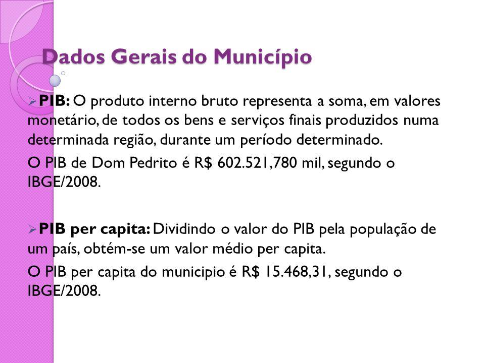 Dados Gerais do Município  PIB: O produto interno bruto representa a soma, em valores monetário, de todos os bens e serviços finais produzidos numa d