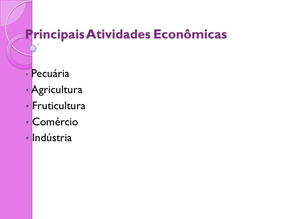 Principais Atividades Econômicas Pecuária Agricultura Fruticultura Comércio Indústria