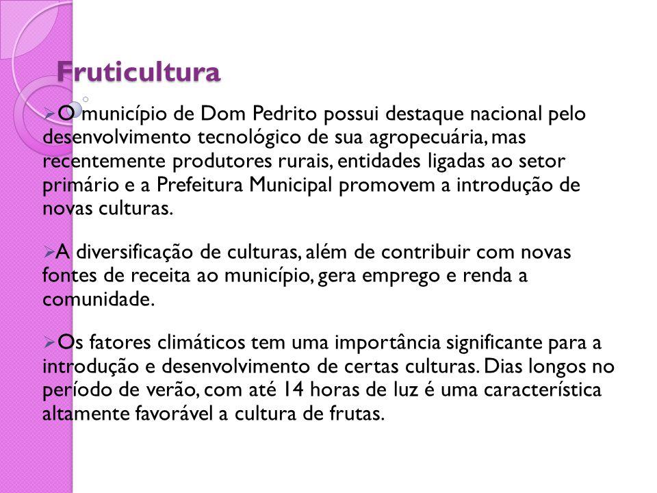 Fruticultura  O município de Dom Pedrito possui destaque nacional pelo desenvolvimento tecnológico de sua agropecuária, mas recentemente produtores r