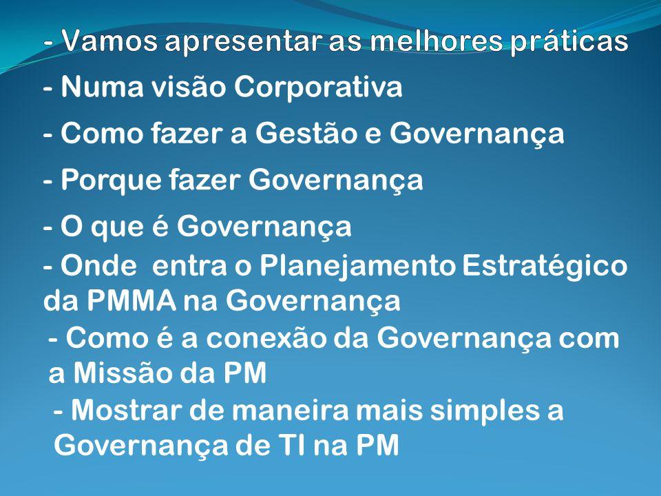 - Numa visão Corporativa - Como fazer a Gestão e Governança - Porque fazer Governança - O que é Governança - Onde entra o Planejamento Estratégico da