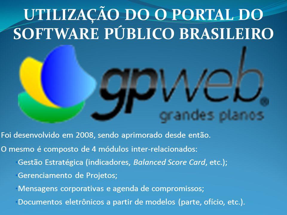 UTILIZAÇÃO DO O PORTAL DO SOFTWARE PÚBLICO BRASILEIRO Foi desenvolvido em 2008, sendo aprimorado desde então. O mesmo é composto de 4 módulos inter-re