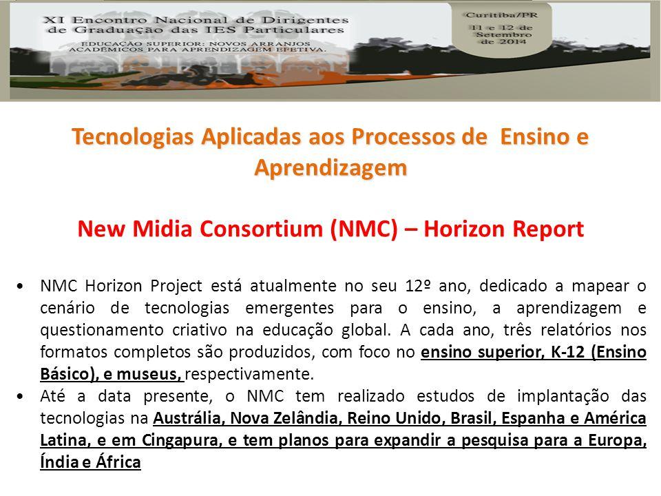 New Midia Consortium (NMC) – Horizon Report NMC Horizon Project está atualmente no seu 12º ano, dedicado a mapear o cenário de tecnologias emergentes para o ensino, a aprendizagem e questionamento criativo na educação global.