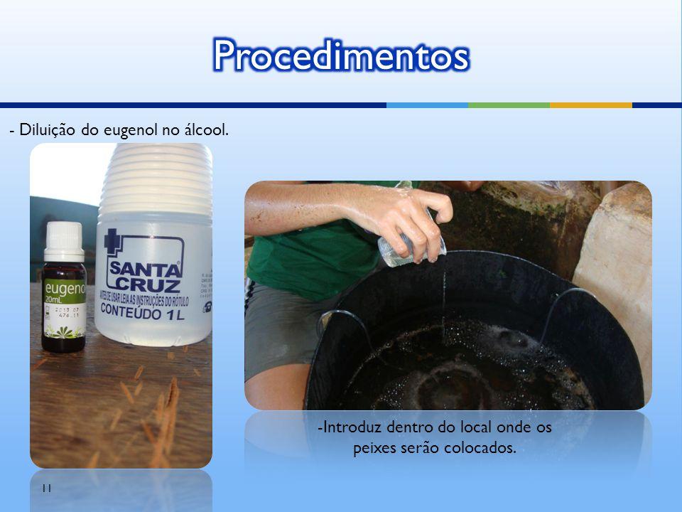 11 - Diluição do eugenol no álcool. -Introduz dentro do local onde os peixes serão colocados.