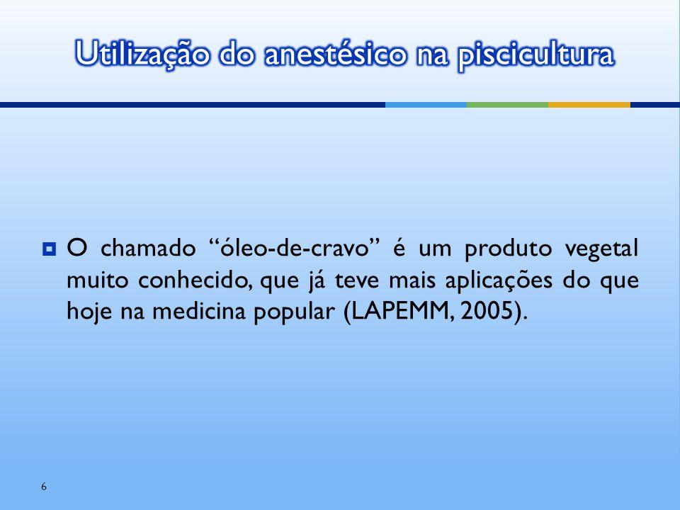 """ O chamado """"óleo-de-cravo"""" é um produto vegetal muito conhecido, que já teve mais aplicações do que hoje na medicina popular (LAPEMM, 2005). 6"""