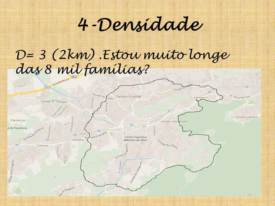 4-Densidade D= 3 (2km).Estou muito longe das 8 mil famílias?