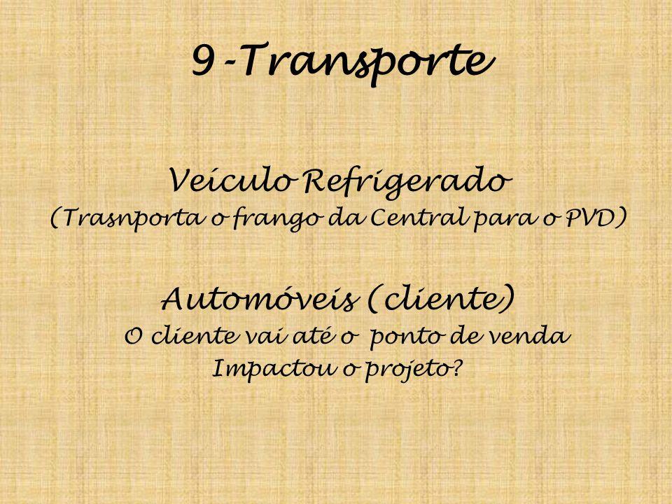 9-Transporte Veículo Refrigerado (Trasnporta o frango da Central para o PVD) Automóveis (cliente) O cliente vai até o ponto de venda Impactou o projet