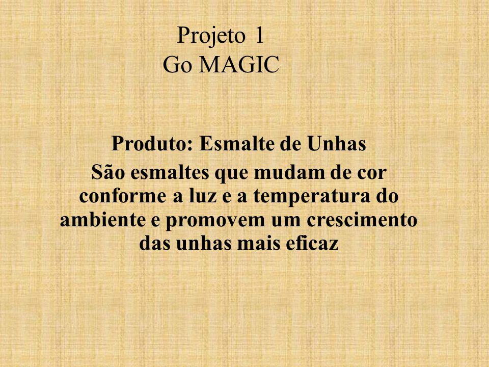 Projeto 1 Go MAGIC Produto: Esmalte de Unhas São esmaltes que mudam de cor conforme a luz e a temperatura do ambiente e promovem um crescimento das unhas mais eficaz