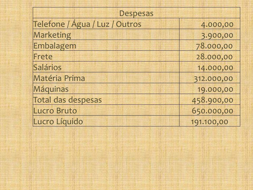 Despesas Telefone / Água / Luz / Outros 4.000,00 Marketing 3.900,00 Embalagem 78.000,00 Frete 28.000,00 Salários 14.000,00 Matéria Prima 312.000,00 Máquinas 19.000,00 Total das despesas 458.900,00 Lucro Bruto 650.000,00 Lucro Líquido191.100,00
