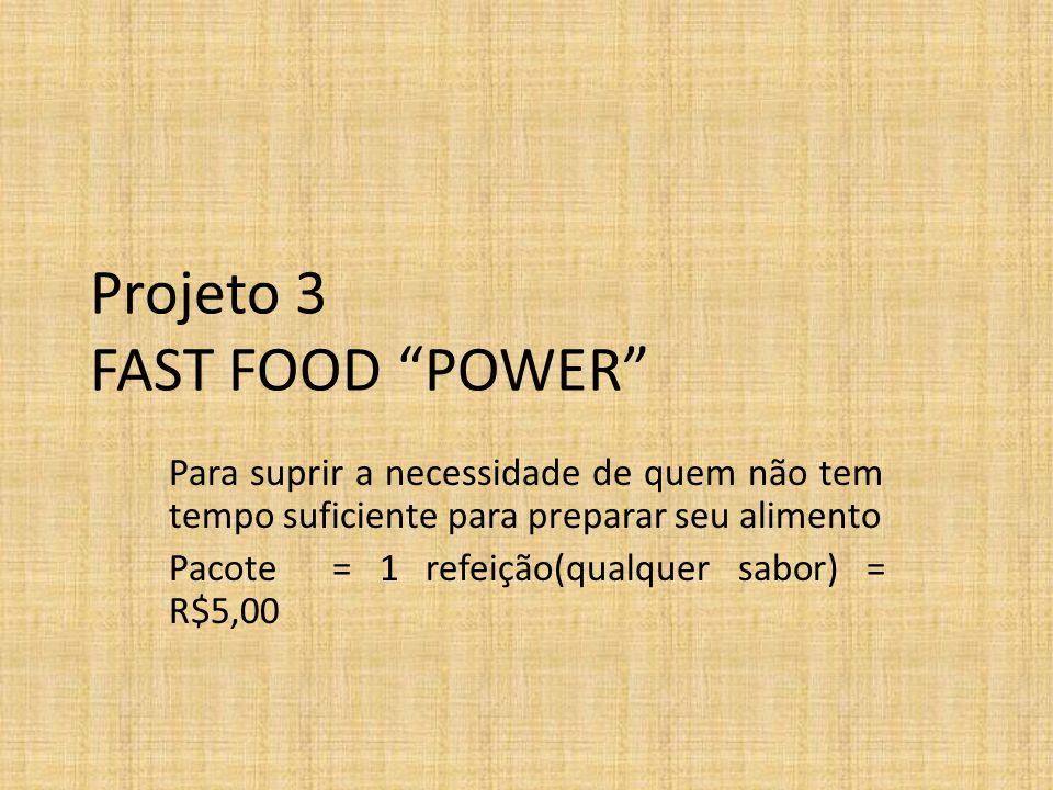 Projeto 3 FAST FOOD POWER Para suprir a necessidade de quem não tem tempo suficiente para preparar seu alimento Pacote = 1 refeição(qualquer sabor) = R$5,00