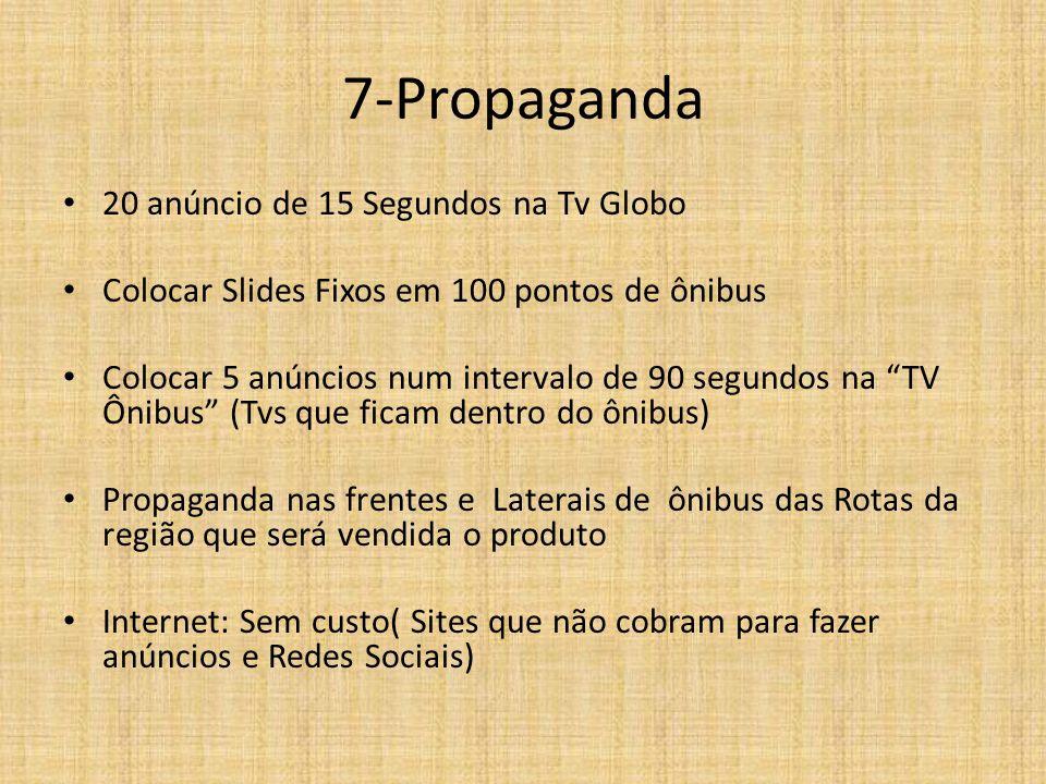 """7-Propaganda 20 anúncio de 15 Segundos na Tv Globo Colocar Slides Fixos em 100 pontos de ônibus Colocar 5 anúncios num intervalo de 90 segundos na """"TV"""