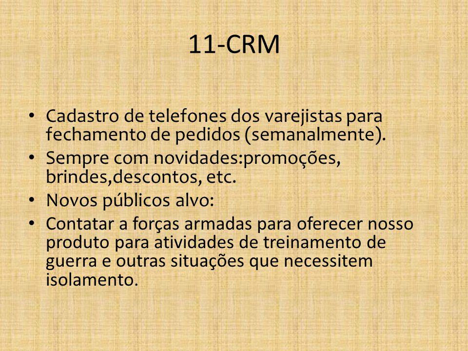 11-CRM Cadastro de telefones dos varejistas para fechamento de pedidos (semanalmente). Sempre com novidades:promoções, brindes,descontos, etc. Novos p