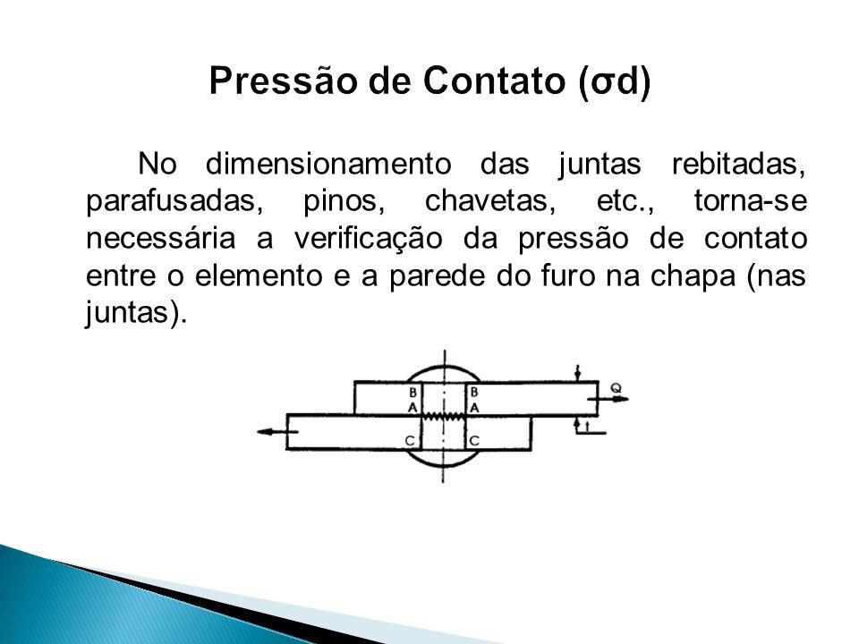 No dimensionamento das juntas rebitadas, parafusadas, pinos, chavetas, etc., torna-se necessária a verificação da pressão de contato entre o elemento