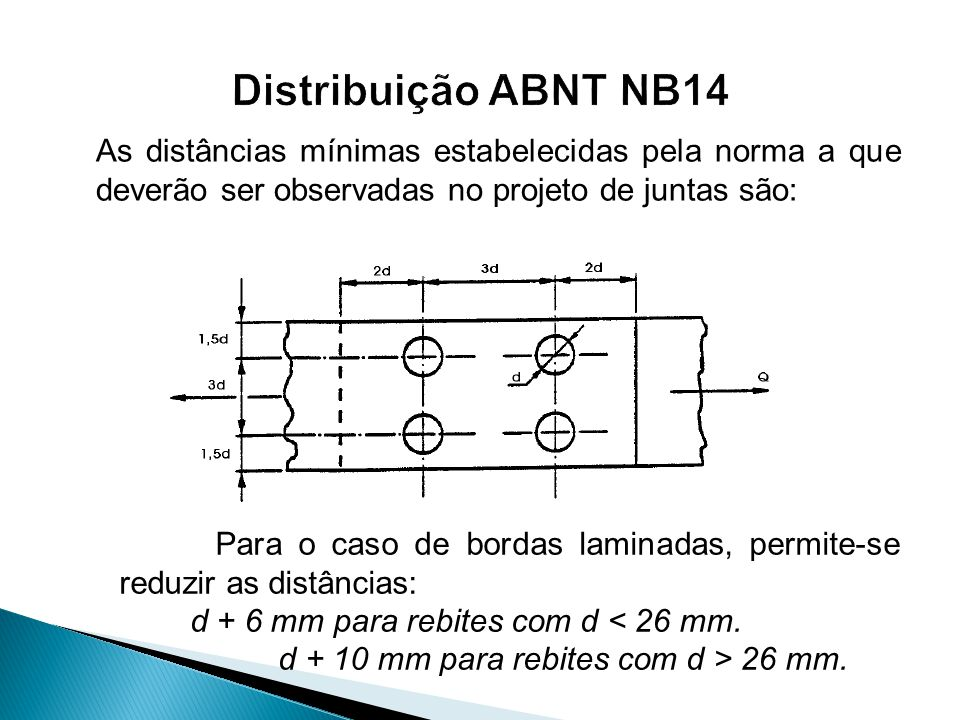As distâncias mínimas estabelecidas pela norma a que deverão ser observadas no projeto de juntas são: Para o caso de bordas laminadas, permite-se redu