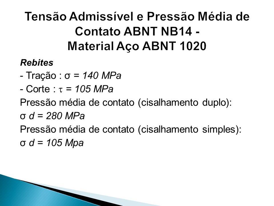 Rebites - Tração : σ = 140 MPa - Corte :  = 105 MPa Pressão média de contato (cisalhamento duplo): σ d = 280 MPa Pressão média de contato (cisalhamen