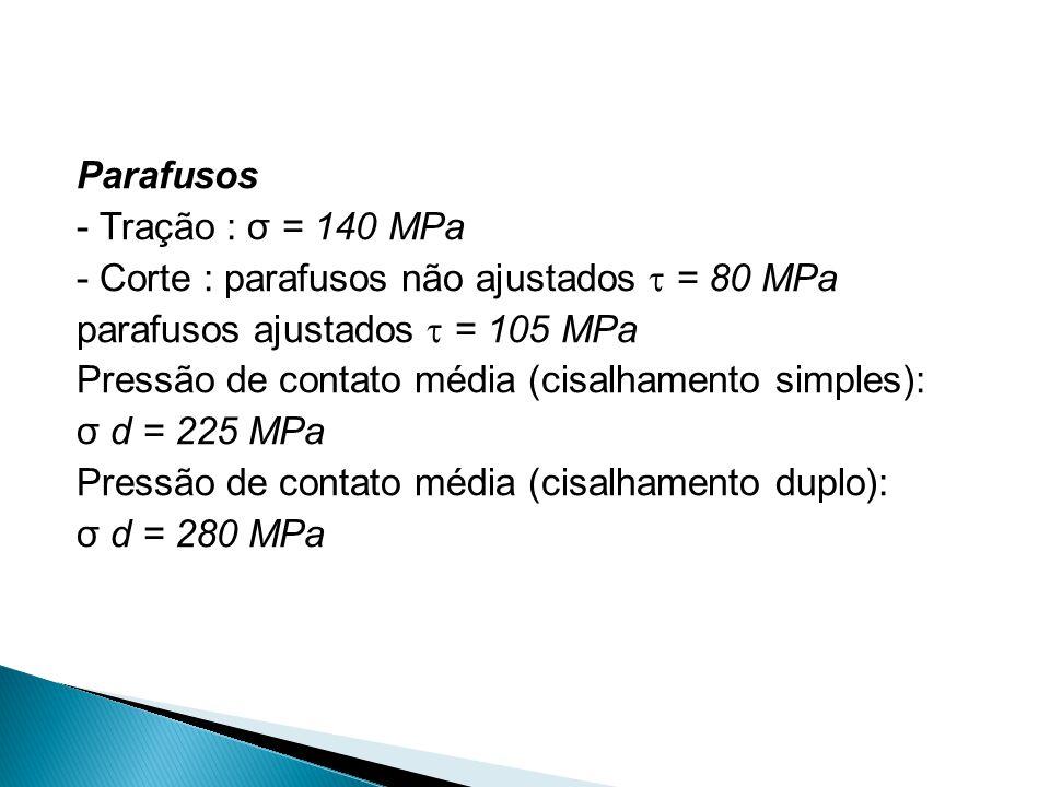 Parafusos - Tração : σ = 140 MPa - Corte : parafusos não ajustados  = 80 MPa parafusos ajustados  = 105 MPa Pressão de contato média (cisalhamento s