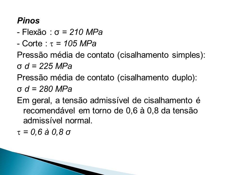 Pinos - Flexão : σ = 210 MPa - Corte :  = 105 MPa Pressão média de contato (cisalhamento simples): σ d = 225 MPa Pressão média de contato (cisalhamen