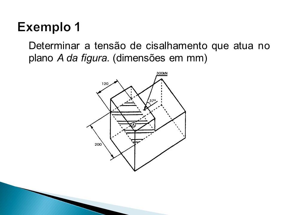 Determinar a tensão de cisalhamento que atua no plano A da figura. (dimensões em mm)