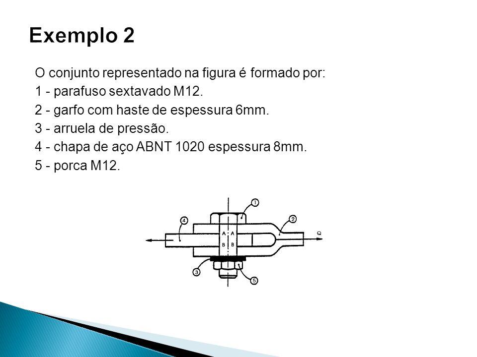 O conjunto representado na figura é formado por: 1 - parafuso sextavado M12. 2 - garfo com haste de espessura 6mm. 3 - arruela de pressão. 4 - chapa d